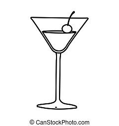 silhouette cocktail beverage with cherry icon