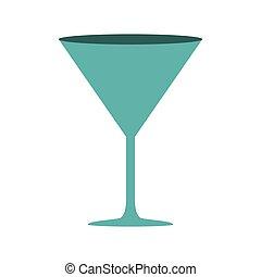silhouette, cocktail, couleur, boisson, verre, cyan