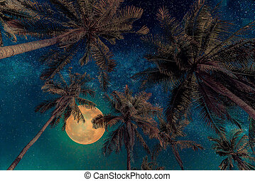 Silhouette coconut palm tree with the full Moon and Milky way galaxy on night sky. Vintage tone (Elements of this moon image furnished by NASA)