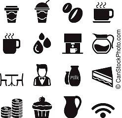Silhouette Coffee shop icons Set