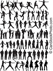 silhouette, -, collection, gens