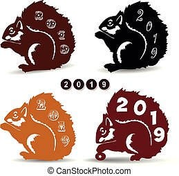 Silhouette collection of christmas squirrels, decoration for the new year 2019,