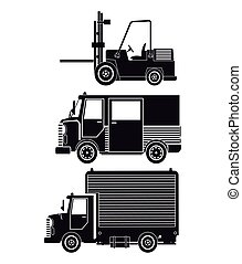 silhouette collection truck forklift cargo transport