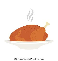 silhouette, coloré, chaud, rôti, plat, poulet
