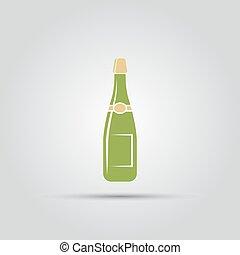 silhouette, coloré, isolé, vecteur, bouteille, champagne, icône