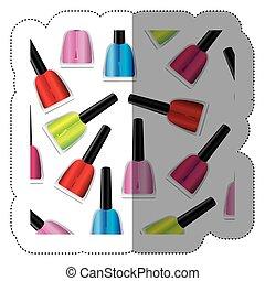 silhouette, coloré, modèle, autocollant, vernis à ongles