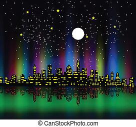 silhouette, coloré, nuit