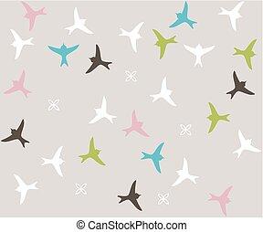 silhouette, coloré, pattern., seamless, oiseau, oiseaux