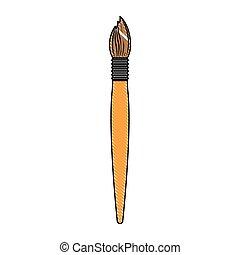 silhouette, coloré, peinture, crayon, brosse, fond, blanc
