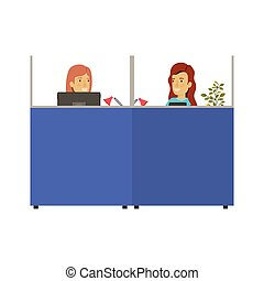silhouette color cubicles workplace office with female employees