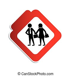 silhouette color road sign with pictogram executives man and woman