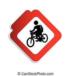 silhouette color road sign with pictogram man cyclist