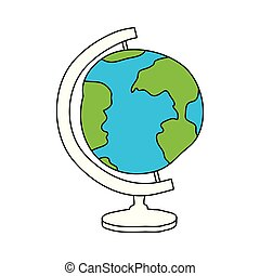 silhouette color section of hand drawn earth globe