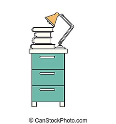 silhouette color sections of filing cabinet with lamp and books