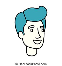 silhouette color sections of man face with pompadour blue...