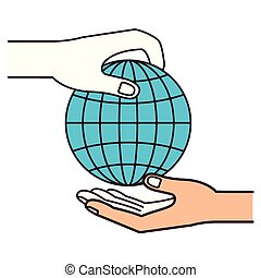 silhouette color sections side view of palm human holding a globe chart to deposit in other hand