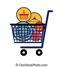 silhouette color with full shopping cart