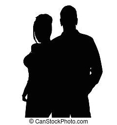 silhouette, colorare, coppia, illustrazione, nero, felice