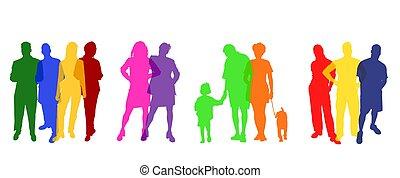 silhouette, colorato, persone