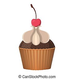 silhouette colorful cupcake with vanilla cream and cherry