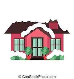 silhouette colorful house christmas season