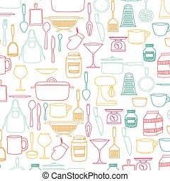 silhouette colorful set of kitchen utensils