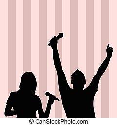 silhouette, colorito, coppia, illustrazione, fondo, canto
