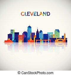 silhouette, colorito, orizzonte, cleveland, geometrico, style.