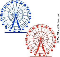 silhouette, colorito, wheel., atraktsion, illustratio, ferris, vettore
