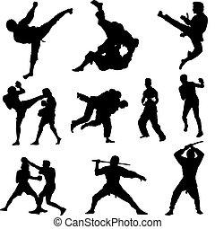 silhouette, combattere sport