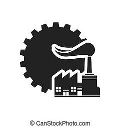 silhouette, conception, engrenage, usine