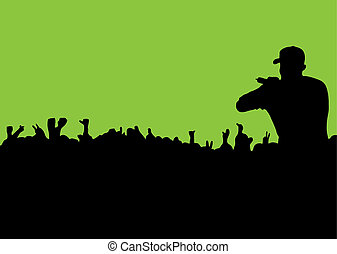 rock or rap concert with people in silhouette waving hands and fists