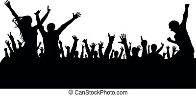 silhouette, concert, mensenmassa