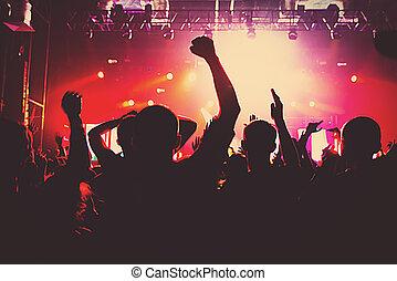 silhouette, concerto, folla, club, musica, massive, festa