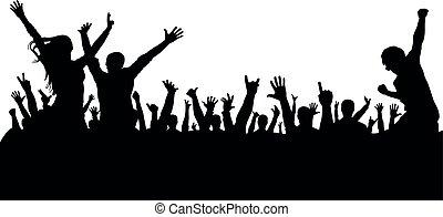 silhouette, concerto, folla, persone