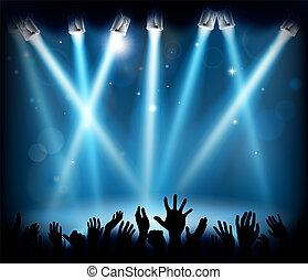 silhouette, concerto, folla, persone, mani, festa, palcoscenico