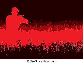 silhouette, concerto, folla, roccia