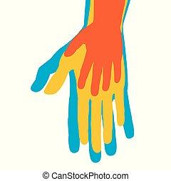 silhouette, concetto, famiglia, mani