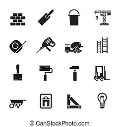 Silhouette Construction and Building icons - vector Icon Set