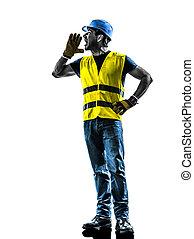 silhouette, construction, crier, ouvrier, sécurité, gilet