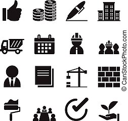 Silhouette construction icons set