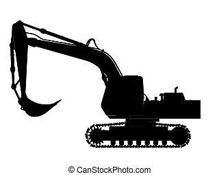 silhouette, contorno, scavatore