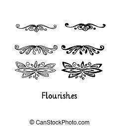 silhouette, contour, elements., isolé, flourishes., main, noir, dessiné