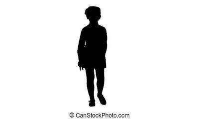 silhouette, conversation, école, marche, appareil-photo., girl