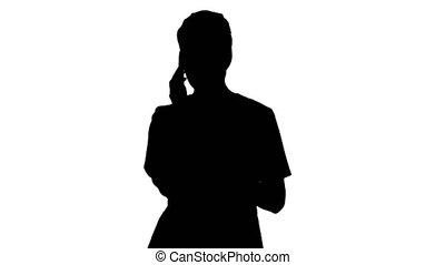 silhouette, conversation, docteur, téléphone., femme, sérieux
