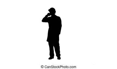 silhouette, conversation, piste, site, matte., téléphone, construction, ingénieur