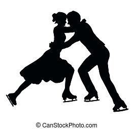 silhouette, coppia, abbracciare, pattinatore ghiaccio