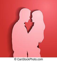 silhouette, coppia., amare