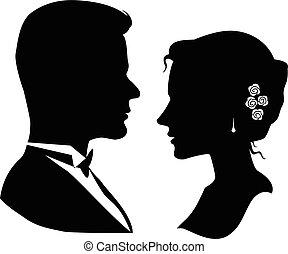 silhouette, coppia, amare