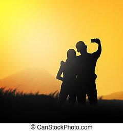 silhouette, coppia, fare, selfie